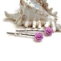 Rózsás hajcsat 1 pár - lila, Ruha, divat, cipő, Esküvő, Ékszer, óra, Hajbavaló, 10 mm-es lila rózsákból készült hajcsat egyszerű hullámcsat alapon. Alkalmi vagy hétköznapi frizura ..., Meska
