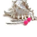 Rózsás hajcsat 1 pár - pink, Ruha, divat, cipő, Esküvő, Ékszer, Hajbavaló, 10 mm-es pink rózsákból készült hajcsat egyszerű hullámcsat alapon. Alkalmi vagy hétköznapi frizura ..., Meska