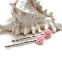 Rózsás hajcsat 1 pár - rózsaszín, Ruha, divat, cipő, Esküvő, Ékszer, Hajbavaló, 10 mm-es rózsaszín rózsákból készült hajcsat egyszerű hullámcsat alapon. Alkalmi vagy hétköznapi fri..., Meska