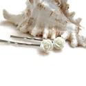 Rózsás hajcsat 1 pár - fehér, 10 mm-es fehér rózsákból készült hajcsat egy...