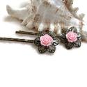 Rózsás hajcsat 1 pár - rózsaszín, Ruha, divat, cipő, Esküvő, Ékszer, Hajbavaló, 10 mm-es rózsaszín rózsákból készült hajcsat díszes alapon. Alkalmi vagy hétköznapi frizura tökélete..., Meska