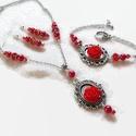 Piros rózsás nyaklánc - fülbevaló - karkötő szett, Ékszer, Nyaklánc, Fülbevaló, Karkötő, Csodaszép, romantikus stílusú ezüst alapot piros 10 és 15 mm-es rózsákkal és csiszolt gyöngyökkel dí..., Meska