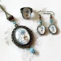 Vintage kert üveglencsés nyaklánc fülbevaló gyűrű szett, A szépen díszített antik bronz keretbe vintage ...