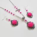 Pink rózsás nyaklánc és fülbevaló szett , Ékszer, Nyaklánc, Fülbevaló, Karkötő, 14 mm-es pink virágokból és csiszoltakból készült szett, különleges kaboson alappal.  A lánc hossza ..., Meska