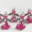 Angyalka - 5 db-os csomag - pink, Dekoráció, Ékszer, Ünnepi dekoráció, Karácsonyi, adventi apróságok, Akryl virágból, gyöngyből, filigrán gyöngykupakokból és tibeti ezüst alkatrészből készült édes kis a..., Meska