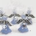 Angyalka - 5 db-os csomag - kék, Dekoráció, Ékszer, Ünnepi dekoráció, Karácsonyi, adventi apróságok, Akryl virágból, gyöngyből, filigrán gyöngykupakokból és tibeti ezüst alkatrészből készült édes kis a..., Meska