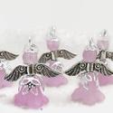Angyalka - 5 db-os csomag - halványlila, Dekoráció, Ékszer, Ünnepi dekoráció, Karácsonyi, adventi apróságok, Akryl virágból, gyöngyből, filigrán gyöngykupakokból és tibeti ezüst alkatrészből készült édes kis a..., Meska