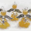 Angyalka - 5 db-os csomag - narancs, Dekoráció, Ékszer, Ünnepi dekoráció, Karácsonyi, adventi apróságok, Akryl virágból, gyöngyből, filigrán gyöngykupakokból és tibeti ezüst alkatrészből készült édes kis a..., Meska