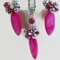 Pink kagylóhéj-bubble nyaklánc fülbevaló szett