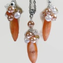 Narancs kagylóhéj-bubble nyaklánc fülbevaló szett