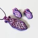 Lila apróság sujtás nyaklánc fülbevaló szett, Ékszer, óra, Nyaklánc, Ékszerszett, Fülbevaló, Lila és rózsaszín sujtás zsinórokból és cseh gyöngyökből készült nyaklánc és fülbevaló szett.    A m..., Meska