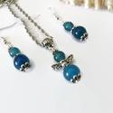Egyensúly kék achát ásvány angyalkás nyaklánc fülbevaló szett, Ékszer, Karkötő, 6 és 8 mm-es achát ásványgyöngyökből és tibeti ezüst díszítőelemekből készült kedves, bájos szett, m..., Meska