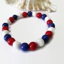 Matrózosan kék-fehér-piros jade ásvány karkötő, Ékszer, Karkötő, 8 mm-es jade ásványgyöngyökből készült egyszerű, mutatós karkötő tengerész stílusban :) Igaz, hogy a..., Meska