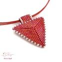 """Piros háromszög nyaklánc, Ékszer, Esküvő, Esküvői ékszer, Nyaklánc, A """"Hétköznapi kedvencek"""" kollekció piros nyaklánca, melyet kiváló minőségű japán delicából fűztem. A..., Meska"""