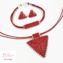 """Piros  háromszög szett, Ékszer, Esküvő, Esküvői ékszer, Karkötő, A """"Hétköznapi kedvencek"""" kollekció piros szettje. A szett darabjait kiváló minőségű japán delicából ..., Meska"""
