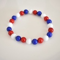 Matrózosan kék-fehér-piros jade ásvány karkötő, 8 mm-es jade ásványgyöngyökből készült egys...
