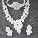 Hófehér menyasszonyi sujtás nyaklánc fülbevaló karkötő szett, Lillie egyedi rendelése alapján készült menyas...