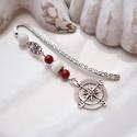Iránytű könyvjelző piros-fehér gyöngyökkel - antik ezüst, A könyvjelzőhöz piros és fehér gyöngyöket, ...