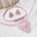 """Rózsaszín háromszög szett, Ékszer, Esküvő, Esküvői ékszer, Karkötő, A """"Hétköznapi kedvencek"""" kollekció rózsaszín szettje. A szett darabjait kiváló minőségű japán delicá..., Meska"""