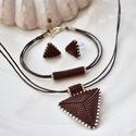 """Csoki háromszög szett, Ékszer, Esküvő, Esküvői ékszer, Karkötő, A """"Hétköznapi kedvencek"""" kollekció csoki szettje. A szett darabjait kiváló minőségű japán delicából ..., Meska"""