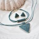 """Tengerzöld háromszög szett, Ékszer, Esküvő, Esküvői ékszer, Karkötő, A """"Hétköznapi kedvencek"""" kollekció tengerzöld szettje. A szett darabjait kiváló minőségű japán delic..., Meska"""