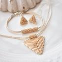 """Krém háromszög szett, Ékszer, Esküvő, Esküvői ékszer, Karkötő, A """"Hétköznapi kedvencek"""" kollekció krém szettje. A szett darabjait kiváló minőségű japán delicából f..., Meska"""