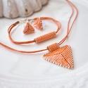 """Selymes narancs háromszög szett, Ékszer, Esküvő, Esküvői ékszer, Karkötő, A """"Hétköznapi kedvencek"""" kollekció selymes narancs szettje. A szett darabjait kiváló minőségű japán ..., Meska"""