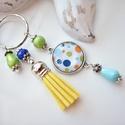 Nyári vidámság Frisss bojtos üveglencsés kulcstartó táskadísz , Lime és kék gyöngyökből, pöttyös mintával ...
