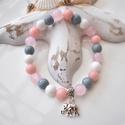 Szerencsehozó elefántos karkötő ásványokkal és üveggyöngyökkel - szürke rózsaszín