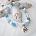 Szerencsehozó elefántos karkötő ásványokkal és üveggyöngyökkel - világoskék, Ékszer, Karkötő, 16 cm-es gumis karkötő kék és fehér gyöngyökkel, valamint elefánt medállal.  A karkötőhöz fehér és k..., Meska