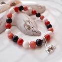 Szerencsehozó elefántos karkötő ásványokkal és üveggyöngyökkel - piros fekete