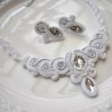 Hófehér menyasszonyi sujtás nyaklánc fülbevaló szett