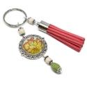 Narancs mesekert bojtos üveglencsés kulcstartó táskadísz , Krém és zöld gyöngyökből, színes virágos m...