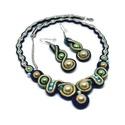 Aranyló napfény a trópusokon sujtás nyaklánc fülbevaló szett, Tekla és cseh gyöngyökből készült egyszerű,...
