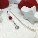 Akció -30% Karácsonyfa könyvjelző fehér és piros gyöngyökkel - antik ezüst, Ékszer, Naptár, képeslap, album, Dekoráció, Könyvjelző, Most 30%-os kedvezménnyel, 990.-Ft helyett 690.-Ft-ért!   Karácsonyfa mintás fityegővel, fehér és pi..., Meska