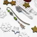 Akció -30% Karácsonyfás könyvjelző zöld és fehér gyöngyökkel - antik ezüst, Most 30%-os kedvezménnyel, 990.-Ft helyett 690.-F...