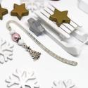 Akció -30% Karácsonyfa könyvjelző fehér és rózsaszín gyöngyökkel - antik ezüst, Most 30%-os kedvezménnyel, 990.-Ft helyett 690.-F...