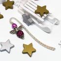 Akció -30% Shamballa angyalkás csillogó könyvjelző magenta gyöngyökkel - antik ezüst, Most 30%-os kedvezménnyel, 990.-Ft helyett 690.-F...