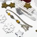 Akció -30% Karácsonyi csengettyű könyvjelző sárga és fehér gyöngyökkel - antik ezüst, Most 30%-os kedvezménnyel, 990.-Ft helyett 690.-F...