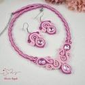 Rózsaszín elegancia sujtás nyaklánc karkötő fülbevaló szett, Ékszer, Esküvő, Nyaklánc, Esküvői ékszer, Ez a szett egy csodaszép, dekoratív szett. Csupa-csupa, szívmelengető rózsaszín :) Sötét pin..., Meska