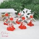 Piros angyalka medál 5 dbos csomag, Dekoráció, Karácsonyi, adventi apróságok, Ünnepi dekoráció, Ajándékkísérő, képeslap, Az angyalkákat színes  akryl virágból, színben hozzá illő gyöngyből, filigrán gyöngykupakokból és ti..., Meska