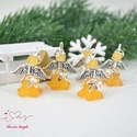 Narancs angyalka medál 5 dbos csomag, Dekoráció, Karácsonyi, adventi apróságok, Ünnepi dekoráció, Ajándékkísérő, képeslap, Az angyalkákat színes  akryl virágból, színben hozzá illő gyöngyből, filigrán gyöngykupakokból és ti..., Meska
