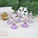 Lila angyalka medál 5 dbos csomag, Dekoráció, Karácsonyi, adventi apróságok, Ünnepi dekoráció, Ajándékkísérő, képeslap, Az angyalkákat színes  akryl virágból, színben hozzá illő gyöngyből, filigrán gyöngykupakokból és ti..., Meska