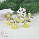 Sárga angyalka medál 5 dbos csomag, Dekoráció, Karácsonyi, adventi apróságok, Ünnepi dekoráció, Ajándékkísérő, képeslap, Az angyalkákat színes  akryl virágból, színben hozzá illő gyöngyből, filigrán gyöngykupakokból és ti..., Meska