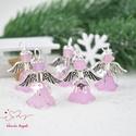 Halványlila angyalka medál 5 dbos csomag, Dekoráció, Karácsonyi, adventi apróságok, Ünnepi dekoráció, Ajándékkísérő, képeslap, Az angyalkákat színes  akryl virágból, színben hozzá illő gyöngyből, filigrán gyöngykupakokból és ti..., Meska