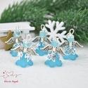 Türkiz angyalka medál 5 dbos csomag, Dekoráció, Karácsonyi, adventi apróságok, Ünnepi dekoráció, Ajándékkísérő, képeslap, Az angyalkákat színes  akryl virágból, színben hozzá illő gyöngyből, filigrán gyöngykupakokból és ti..., Meska