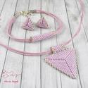 Rózsaszín háromszög nyaklánc fülbevaló karkötő szett, Ékszer, Esküvő, Esküvői ékszer, Karkötő, Kiváló minőségű japán delicából, aprólékos munkával fűzött nyaklánc-fülbevaló szett...., Meska