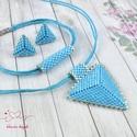 Világoskék háromszög nyaklánc fülbevaló karkötő szett, Ékszer, Esküvő, Esküvői ékszer, Karkötő, Kiváló minőségű japán delicából, aprólékos munkával fűzött nyaklánc-fülbevaló szett...., Meska