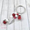 Piros angyalkás kulcstartó táskadísz , Ékszer, Dekoráció, Mindenmás, Kulcstartó, Csiszolt üveggyöngyökből készült angyalkával, angyalszárny fityegővel, piros és fehér gyöngyökkel, v..., Meska