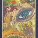 Álom más szemmel, Képzőművészet, Festmény, Akril, Festmény vegyes technika, 31*67 cm-es akril, vegyes technikával készült festmény óarany keretben, fekete paszpartuval., Meska